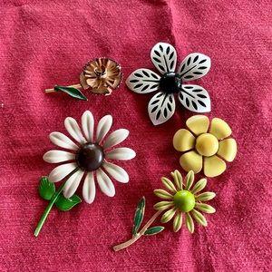 Five vintage enamel flower brooches